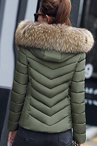 La Peluda Corta Parkas Invierno Capucha Casual Green Outwear Sevozimda Acolchado con Mujer gHwcqd