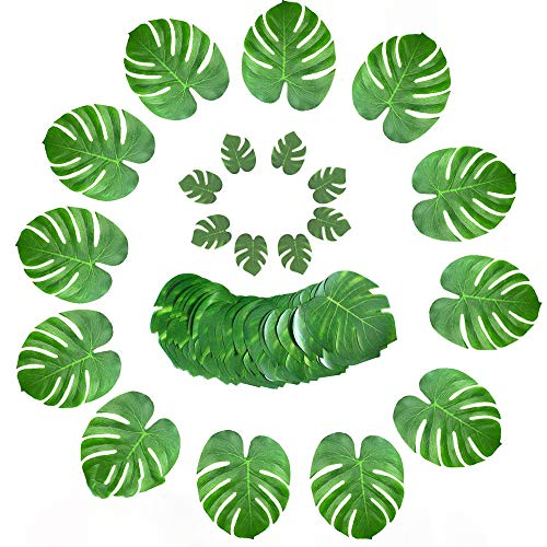 (GXFC Tropical Party Tabletop Decoration, Palm Leaves and Silk Hibiscus, for Hawaiian Party Party Jungle Beach Theme Desktop Decoration,48pcs)