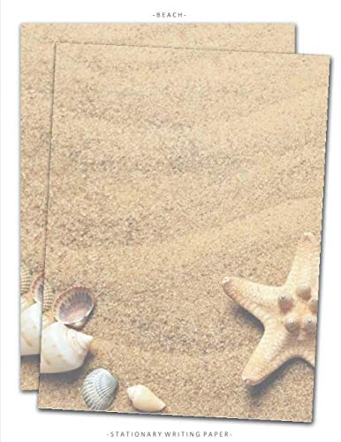 Beach Stationary Writing Paper: Letterhead Paper, 25 Sheets, Sand Seashells Themed for Writing, Flyers, Copying, Crafting, Invitations, Party, Office, ... School Supplies, 8.5 x 11 Inch (Stationery)