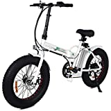"""ECOTRIC 20"""" New Fat Tire Folding Electric Bike Beach Snow Bicycle ebike 500W Electric Moped Electric Mountain Bicycles … (White and Black)"""
