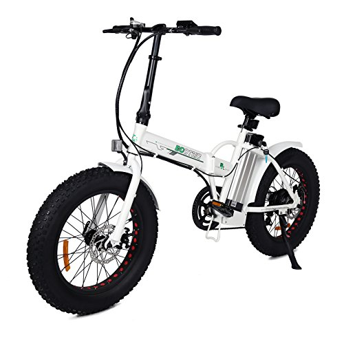 "ECOTRIC 20"" New Fat Tire Folding Electric Bike Beach Snow Bicycle ebike 500W Electric Moped Electric Mountain Bicycles … (White and Black)"