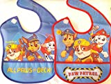 Paw Patrol 2 Pack Waterproof Bibs ~ Blue and Red with Crumb Catcher