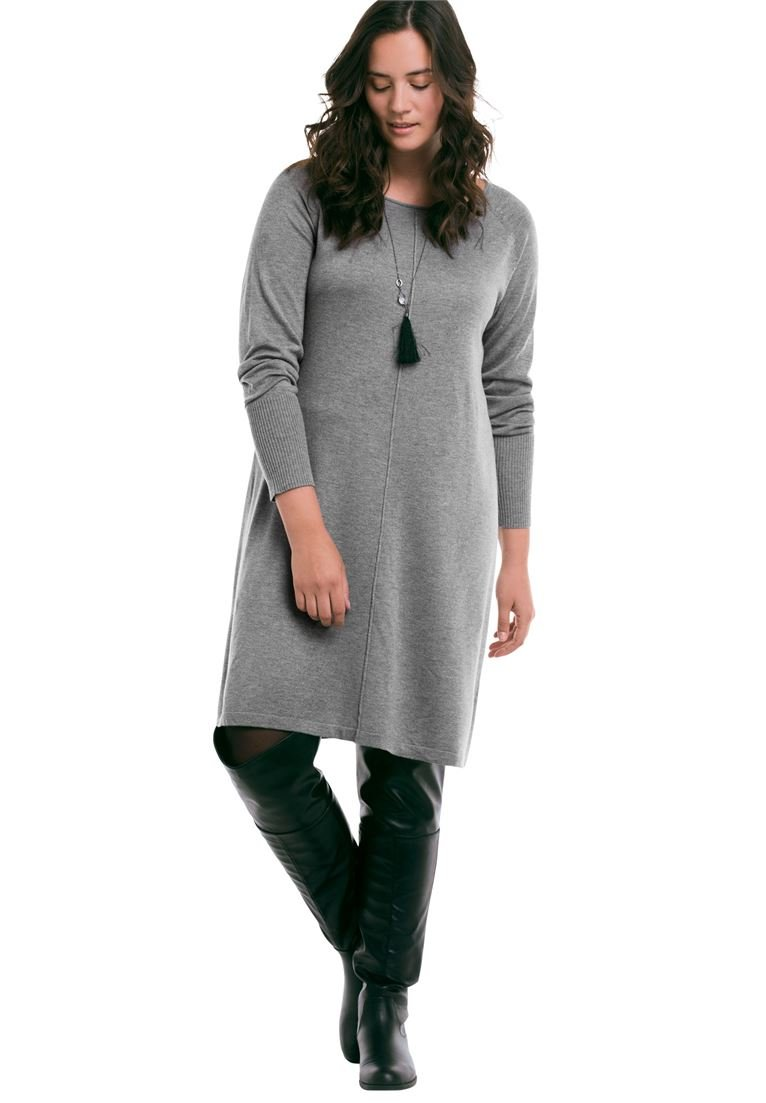 Ellos Women's Plus Size Fine Gauge Sweater Dress Heather Grey,10/12