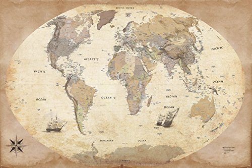 1art1 Maps Poster Adhesive Photo Wall-Print - World Map, 2015 Edition, Vintage Style, In English (71 x 47 (English Country Prints Wallpaper)