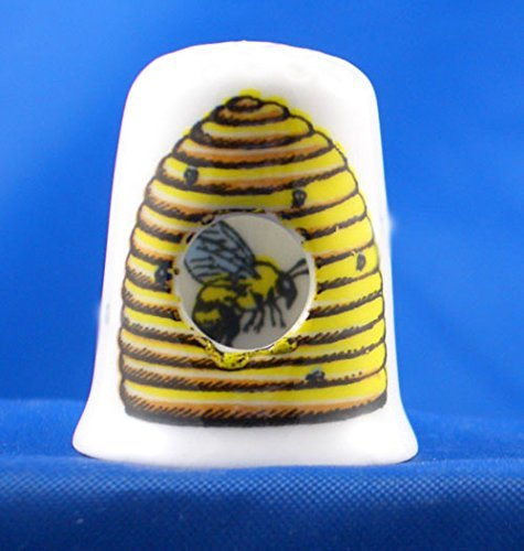 Bee in Hive Porcelain China Thimble Peephole Style