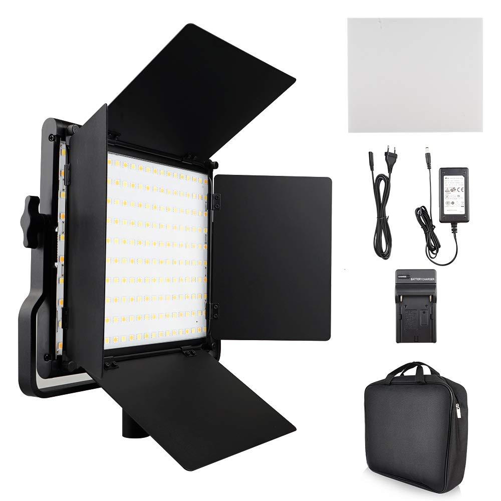 FOSITAN L4500K Bi-Color LED Video Light with Barndoor CRI 96+ 200 SMD LED Camera Light for Studio Photography Shooting (U Bracket, LCD Display - Single Light) by FOSITAN