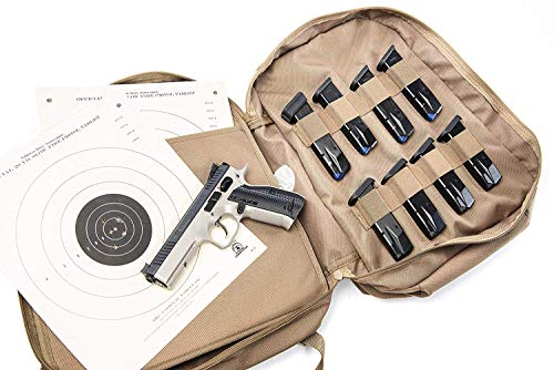 HACKETT EQUIPMENT Little Bertha Two Pistol Range Backpack; Coyote Tan, Good Organization, Lots of Storage, Molle, Patches, Tactical, Shooting, Two Padded Straps, Heavy Duty