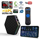 APTC Octa Core T95Z Plus 16GB/2GB Android 7.1 1080p 4K 3D Amlogic S912 Dual Wifi 5G Bluetooth 4.1 Internet Streaming TV Media Set Top Box+Q9 Color Backlit Wireless Keyboard Bundle