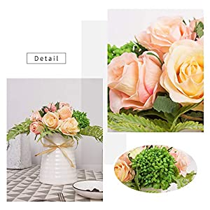 YUYAO Artificial Flowers Rose Bouquets with Vase Fake Silk Flower with Ceramic Vase Modern Bridal Flowers for Wedding Home Table Office Party Patio Decoration (Pink) 3