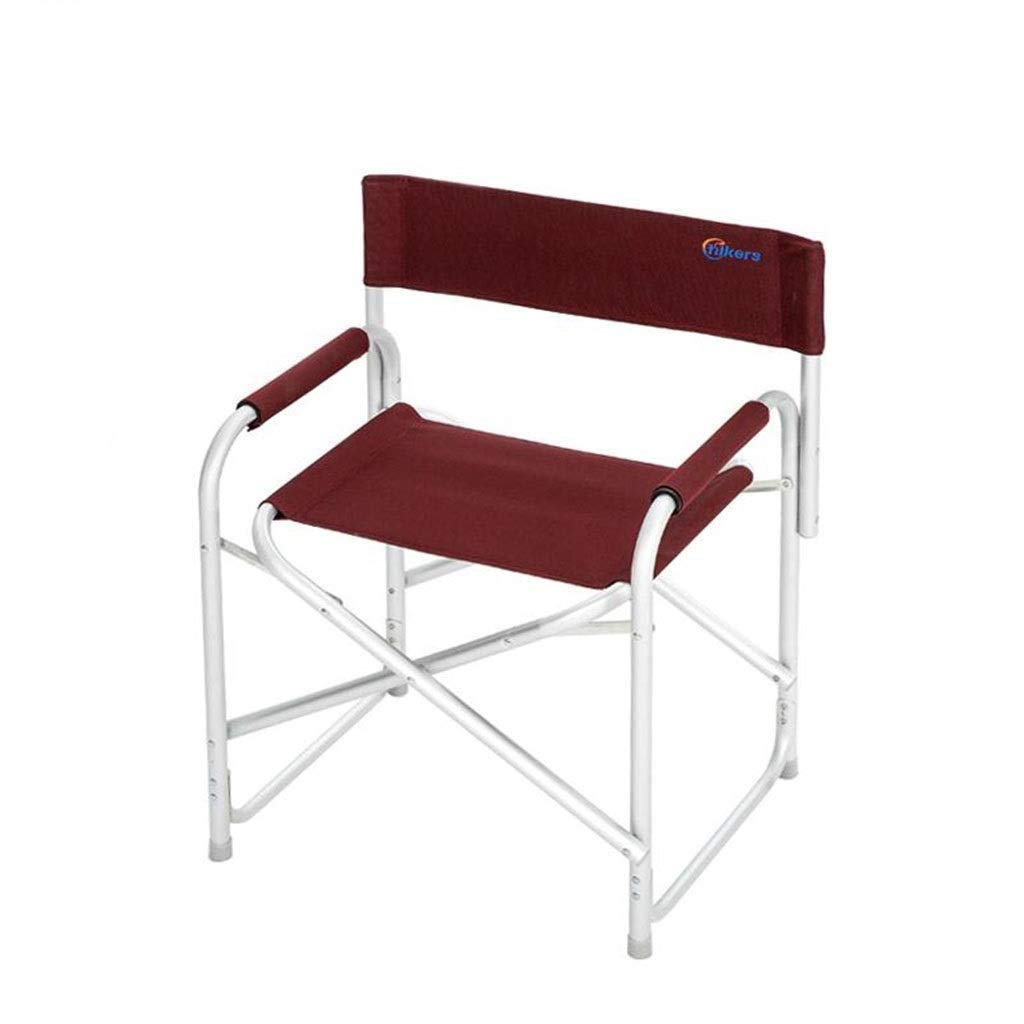 Outdoor Portable Folding Chair Camping Stool with Backrest Handrail Ultralight Picnic Travel Fishing Mountaineering Barbecue Park Adventure Beach 2 Colors Optional (Color : Red)