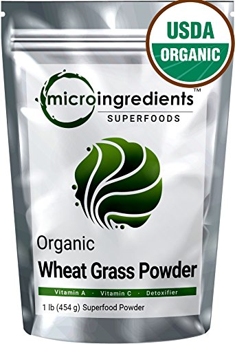 Sustainably US Grown Organic Wheat Grass Powder, 1.Pound, Rich Fiber, Chlorophyll, Antioxidants, Vitamins