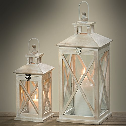 The Cape Cod Farmhouse Candle Lanterns, Set of 2, White Washed Wood, Top Opening, Cross Posts, Glass Panels, Galvanized Floor, 13 and 19 3/4 Inches Tall, By Whole House Worlds by Whole House Worlds (Image #3)