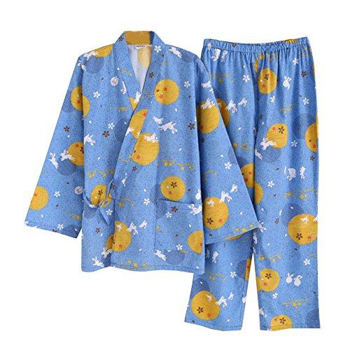 女性の和風ロングスリーブローブコットン着物パジャマスーツ着こなしセット - ブルー