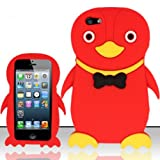For iPhone 5 (AT&T/Sprint/Verizon/Cricket) Penguin 3D Design Silicon Case - Red SCPNG