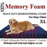 "Extra Large 4"" Thick Orthopedic Grade 100% Memory Foam Dog Bed for Large Dog"