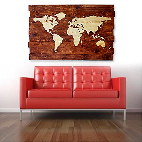 Amazon extra large rustic world map stained wall art on extra large rustic world map stained wall art on distressed solid wood gumiabroncs Choice Image