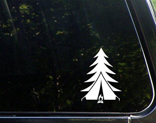 [해외]나무 천막 불 (5 x 3-3 4) 컷 데칼 범퍼 스티커, 윈도우, 자동차, 트럭, 노트북 등/Tree Tent Fire (5  x 3-3 4 ) Die Cut Decal Bumper Sticker For Window