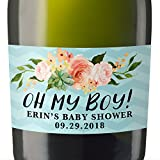 """Oh My Boy!'' Mini Champagne Wine Bottle Custom Label Sticker for Baby Shower Party - Gifts for Guests, Thank You Gift, Event Invitation - Unique Specialized Personalized Bespoke Set of 8"
