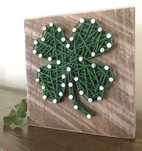 (Lucky four leaf clover shamrock string art, by Nail it Art. St. Patrick's Day decoration, Father's Day gift. Good luck graduation gift, new job and for your favorite Irish friend.)