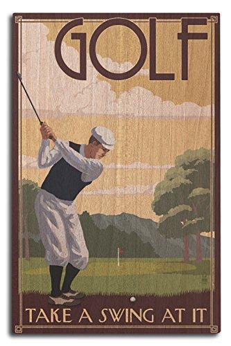 Lantern Press Golf - Take a Swing at It (10x15 Wood Wall Sign, Wall Decor Ready to Hang)