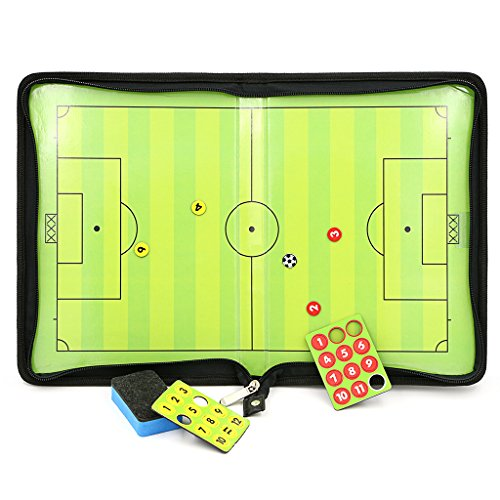 Hipiwe Football /Soccer Coach Magnetic Board with Zipper - Perfect Leather Soccer Tactics Board for Coaches, Players (Soccer Magnetic Board compare prices)