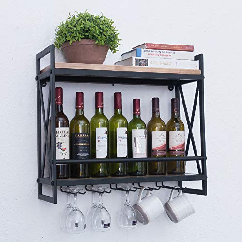 (Rustic Wall Mounted Wine Racks with 5 Stem Glass Holder,23.6in Industrial Metal Hanging Wine Rack,2-Tiers Wood Shelf Floating Shelves,Home Room Living Room Kitchen Decor Display Rack)