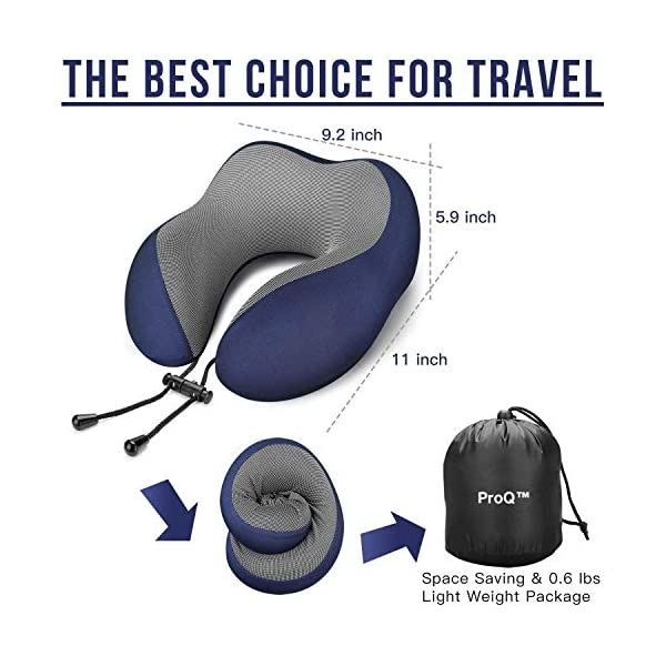 51I3Qge82bL Memory Foam Travel Neck Support Pillow Eye Mask, Noise Isolating Ear Plugs Portable Combo (Blue)
