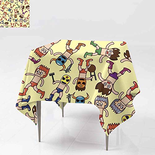 AFGG Waterproof Table Cover,Seamless Wrestler Pattern,Dinner Picnic Table Cloth Home Decoration 36x36 Inch ()