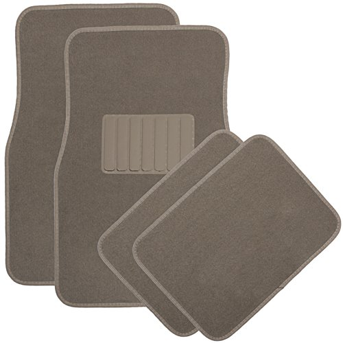 OxGord 4pc Full Set Carpet Floor Mats, Universal Fit Mat for Car, SUV, Van Trucks - Front Rear, Driver Passenger Seat Beige