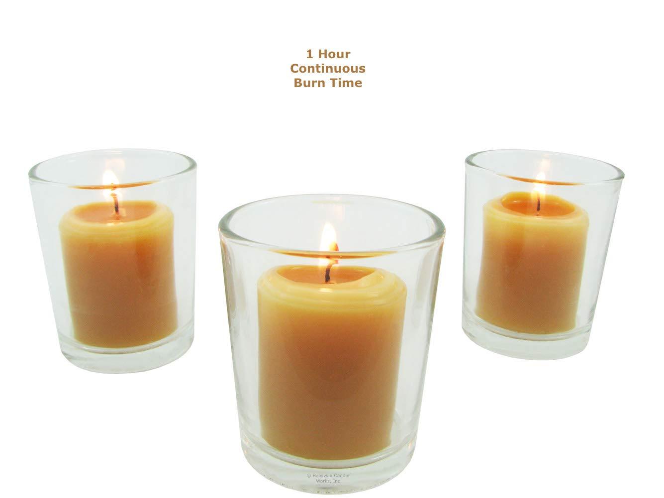 4-7-Hour 100/% Beeswax Domestic Premium Mini Votive Candle~USA Made~FREE Holder