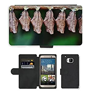 Super Stella Cell Phone Card Slot PU Leather Wallet Case // M00148728 Cocoons Larva Larvae Insect Larvae // HTC One M9