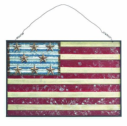 [해외]소박한 애국적인 미국의 국기 나무와 금속 벽 장식 장식 ...