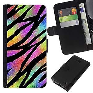EJOY---La carpeta del tirón la caja de cuero de alta calidad de la PU Caso protector / LG OPTIMUS L90 / --Hippie psicodélico Universo Colores