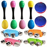 #8: 14PCS Musical Toys - Percussion Musical Instruments - Kids Mini Band Musical Instruments Rhythm Toys Value Pack(4 Maracas + 4 Egg Shakers + 4 Wrist Bells + 2 Castanets)