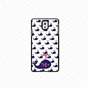 krezy case monogram Galaxy Note 4 case- monogram Personalized blue colored whale pattern with pink initials samsung Galaxy Note 4 case- fits note 4 case, at&t, verison, T-mobile.sprint and international (white) by mcsharks