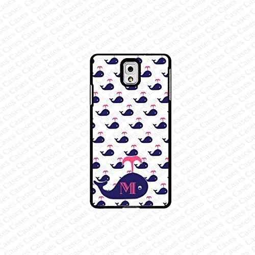 krezy case monogram Galaxy Note 4 case- monogram Personalized blue colored whale pattern with pink initials samsung...