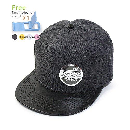 Adjustable Premium Baseball Cap (Vintage Year Premium Heather Wool Blend Flat Bill Adjustable Snapback Hats Baseball Caps (Various Colors) (Leather Black/Heather Black))