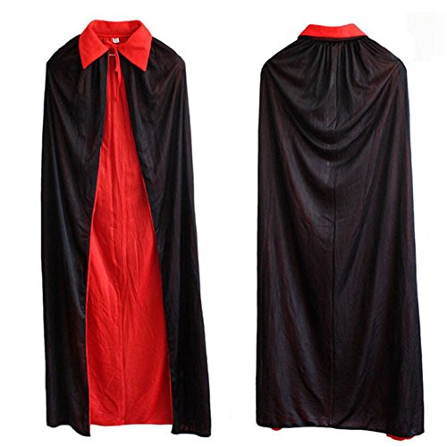 Unisex Halloween Cloak Adult 140cm Long Black Red Vampire Goth magician -