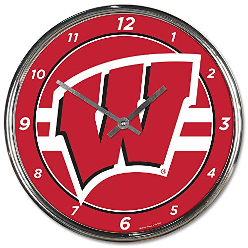 Wisconsin Badgers Clock Wall - Wisconsin Badgers 12 inch Round Wall Clock Chrome Plated