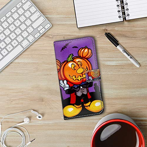 DISNEY COLLECTION iPhone Xs Max [6.5-Inch] Leather Wallet Case Free Mickey Mouse Halloween Screensaver Full-Body]()