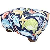 Cast Away Sea Creations Upholstered Fabric Footstool Ottoman