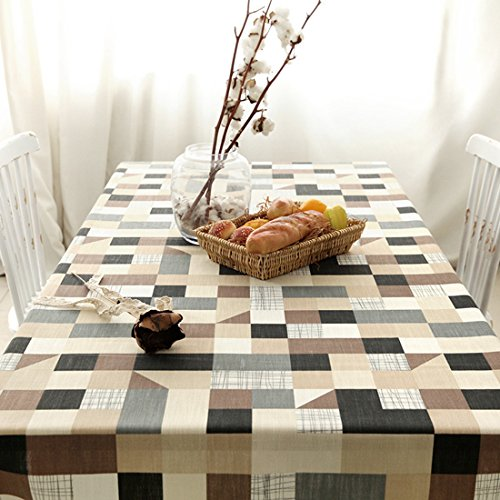 Cotton and Linen, Machine Washable, Dinner, Summer & Picnic Tablecloth,Black & White & Grey Check(Checker,55x70.7In)