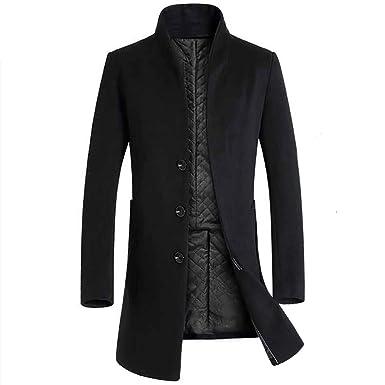 Kemilove Men Trench Coat Winter Long Jacket Breasted Overcoat