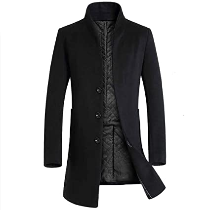2018 Men Button Smart Overcoat Coats,Mens Jacket Warm Winter Trench Long Outwear (M