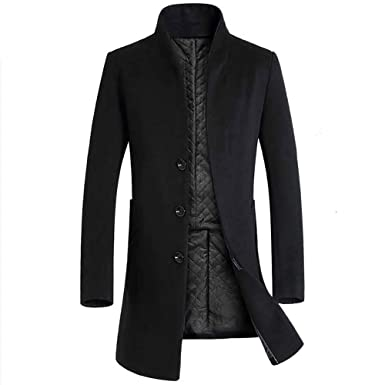 Hiroo Parka Giacca da Uomo Cappotto Caldo Trench Invernale Outwear Lunghi  Cappotti con Soprabito a Bottoni aaa699119b7
