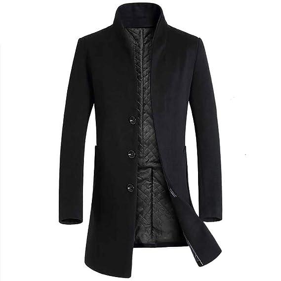 Hiroo Parka Giacca da Uomo Cappotto Caldo Trench Invernale Outwear Lunghi  Cappotti con Soprabito a Bottoni bc5296a1b49