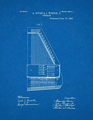 Autoharp Patent Print Art Poster on Acid-Free Heavyweight Blueprint Polar Matte Paper