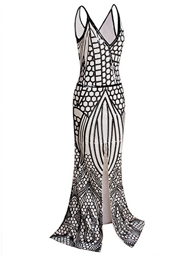 Vijiv 1920s Long Slit Prom Dresses Deep V Neck Sequin Mermaid Bridesmaid Evening Dress , Black Beige , Large ()