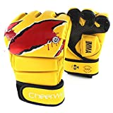 Cheerwing Boxing Gloves MMA UFC Sparring Grappling Fight Punch Mitts Leather Training Gloves, Yellow