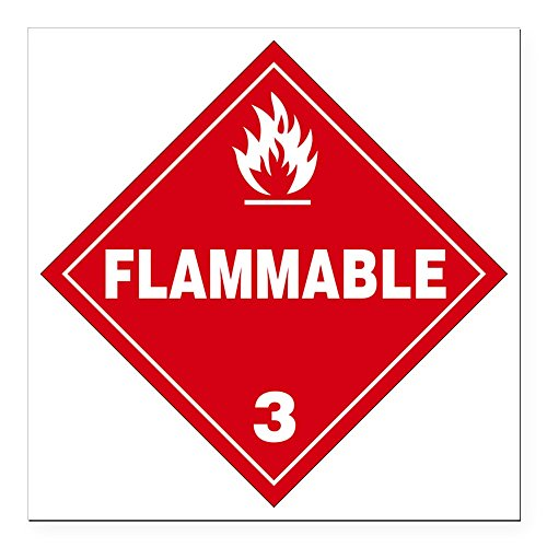 CafePress - Red Flammable Warning Si Square Car Magnet 3